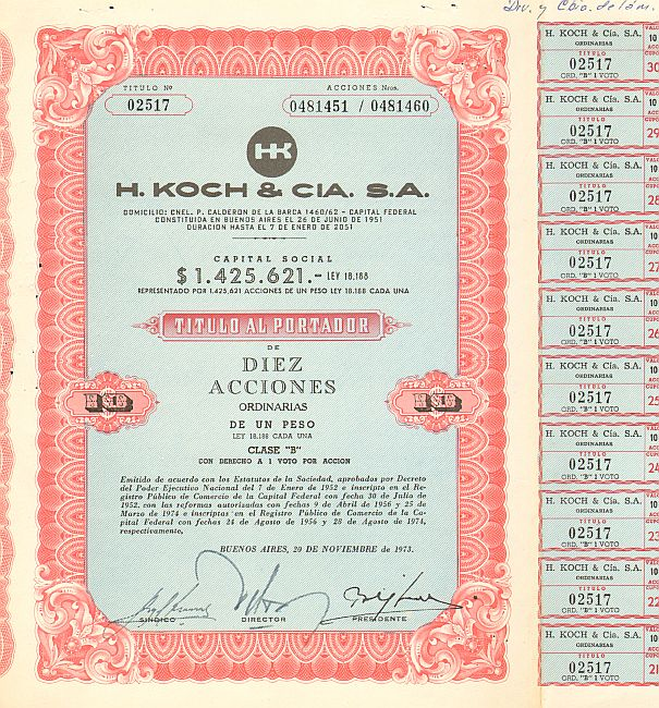 H.Koch & CIA. S.A.  historic stocks - old certificates