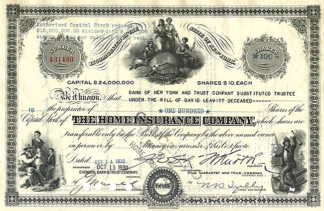 Home Insurance Company historic stocks - old certificates