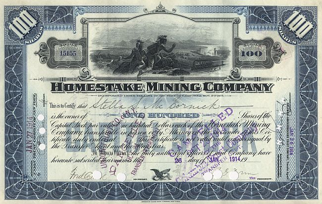 Homestake Mining Company historic stocks - old certificates