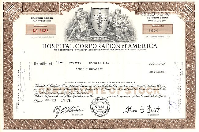 Hospital Corporation historic stocks - old certificates