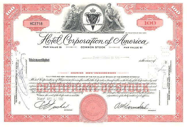 Hotel Corporation of America historic stocks - old certificates