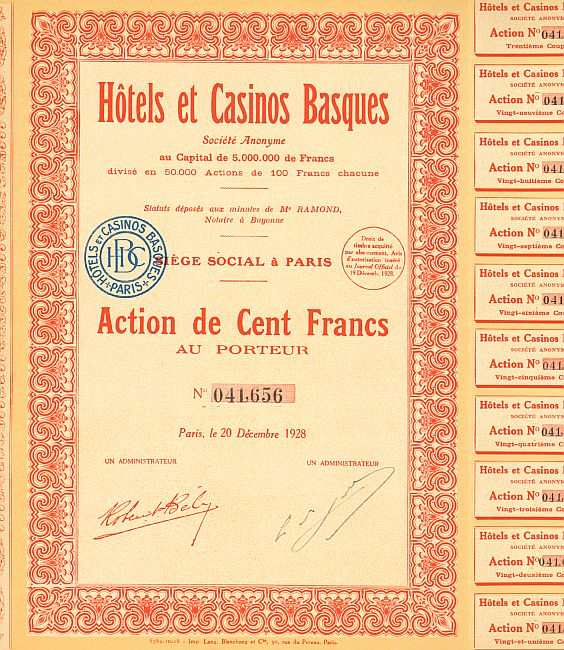 Hotels et Casinos Basques historic stocks - old certificates