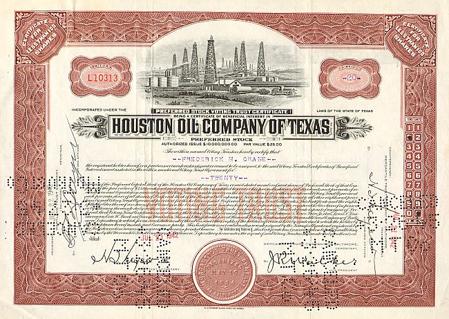 Houston Oil Company of Texas historic stocks - old certificates