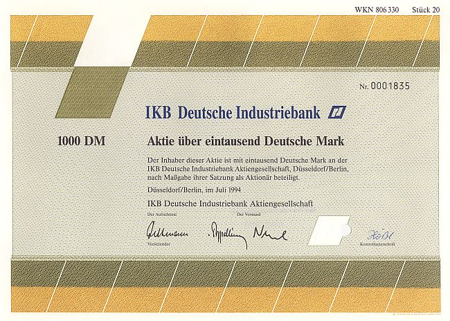 IKB Deutsche Industriebank historic stocks - old certificates