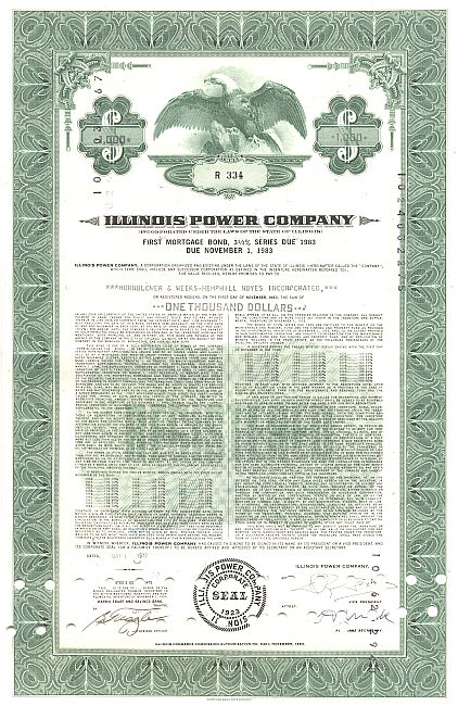 Illinois Power Company historic stocks - old certificates