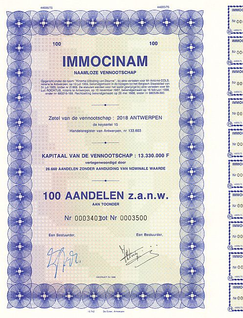 IMMOCINAM historic stocks - old certificates