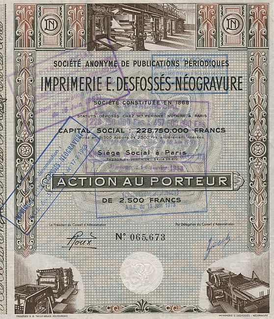Imprimerie E. Desfossès Néogravure (Societe Anonyme de Publication Periodiques) historic stocks - old certificates