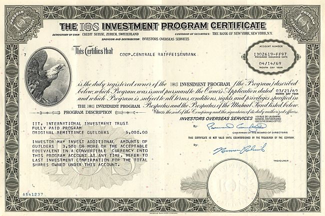 IOS Investment Program Certificate historic stocks - old certificates