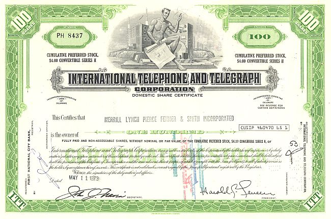 Inter. Telephone and Telegraph Corporation (ITT) historic stocks - old certificates