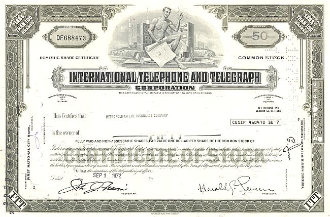 Inter. Telephone and Telegraph Corporation (ITT) historische Wertpapiere - alte Aktien