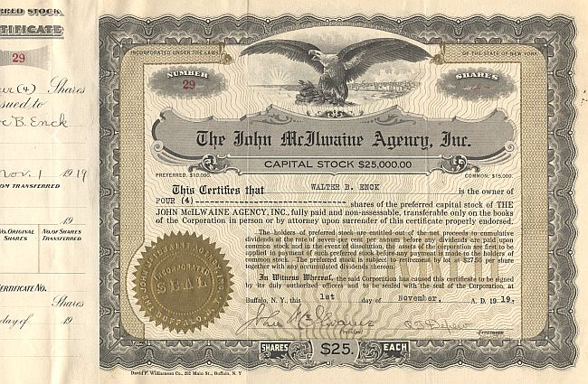 John McAlwaine Agency, Inc. historic stocks - old certificates