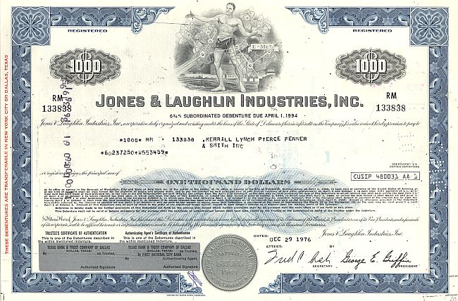 Jones & Laughlin Industries, Inc. historic stocks - old certificates