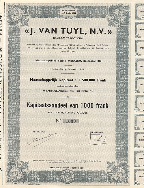J. Van Tuyl, N.V. historic stocks - old certificates
