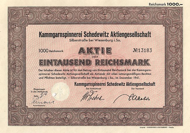 Kammgarnspinnerei Schedewitz Aktiengesellschaft historic stocks - old certificates