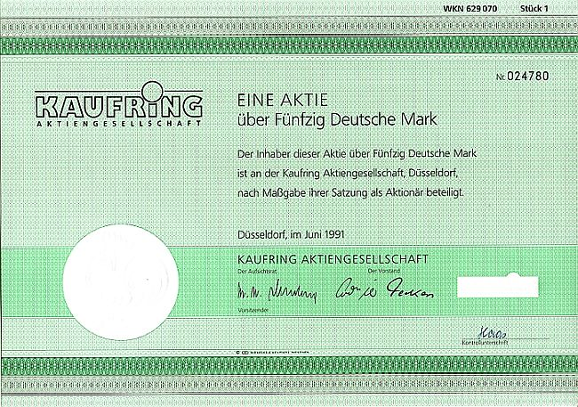 Kaufring Aktiengesellschaft historic stocks - old certificates