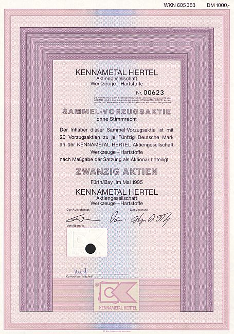 Kennametal Hertel A.G historic stocks - old certificates