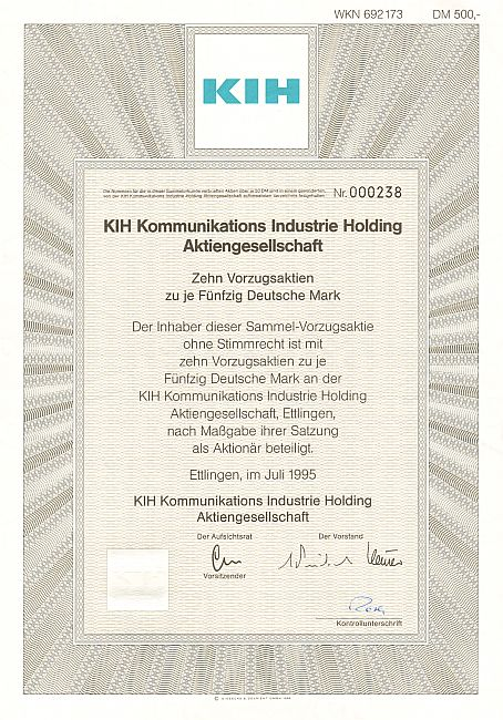 KIH Kommunikations Industrie Holding Aktiengesellschaft historic stocks - old certificates