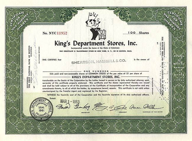 King's Department Stores Inc. historic stocks - old certificates