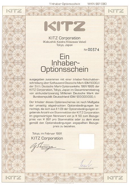 Kitz Corporation historic stocks - old certificates