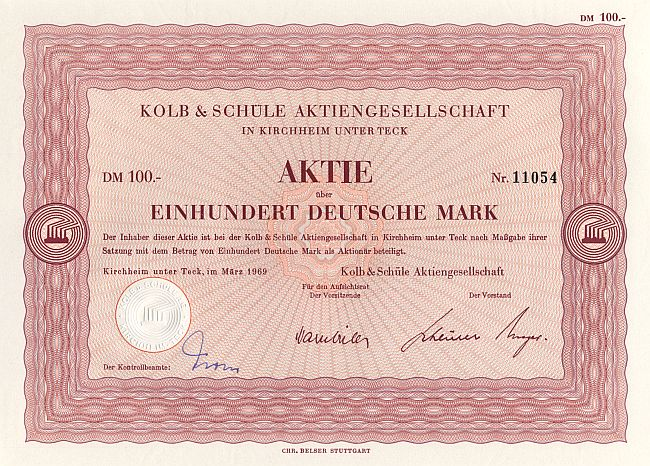 Kolb & Schüle Aktiengesellschaft (1961) historic stocks - old certificates