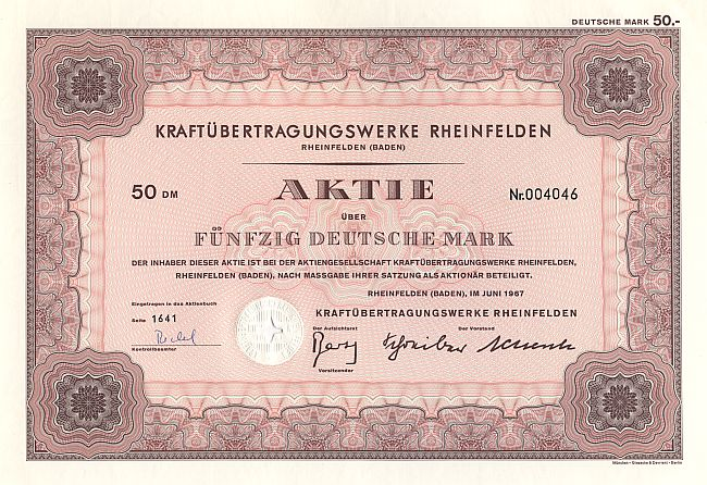 Kraftübertragungswerke Rheinfelden historic stocks - old certificates