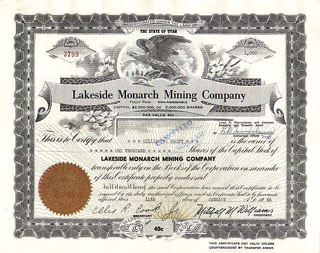 Lakeside Monarch Mining Company historic stocks - old certificates