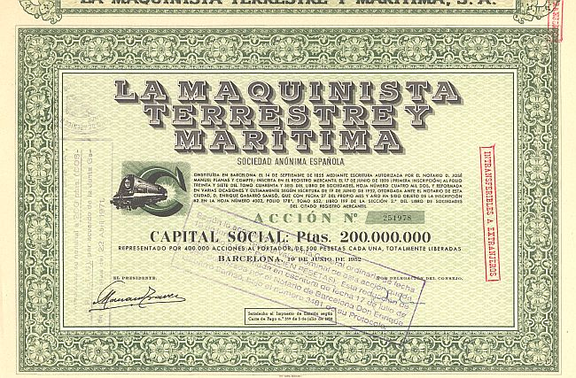 La Maquinista Terrestrey Maritima historic stocks - old certificates