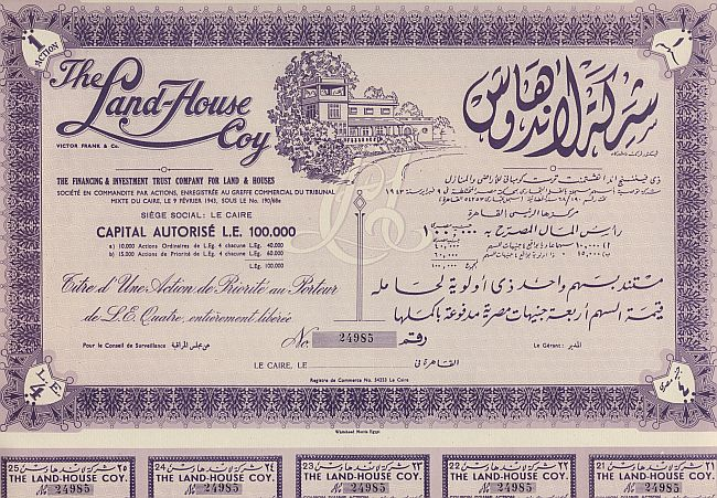 Land-House Coy (1er Vorzugsaktie) historic stocks - old certificates