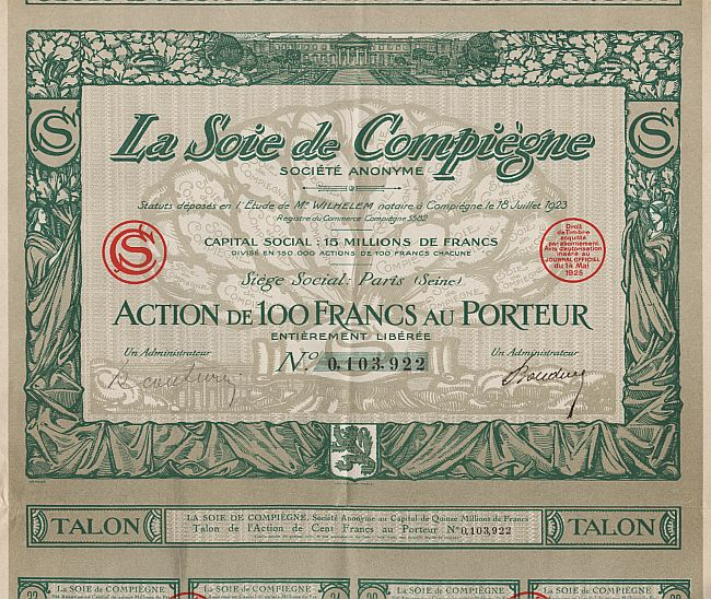 La Soie de Compiègne historic stocks - old certificates