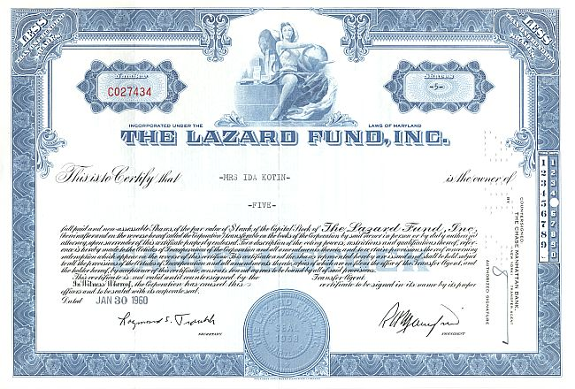 Lazard Fund, Inc. historic stocks - old certificates