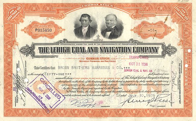 Lehigh Coal and Navigation Company historic stocks - old certificates