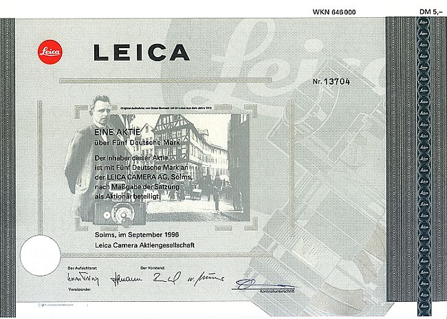 Leica Camera Aktiengesellschaft historic stocks - old certificates