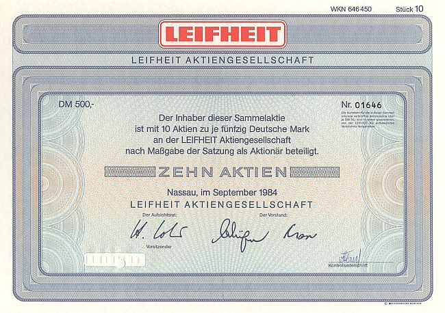Leifheit Aktiengesellschaft historic stocks - old certificates