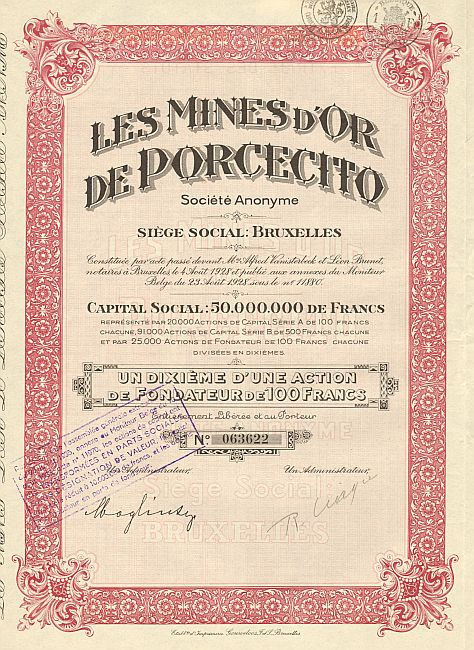 Les Mines d'Or de Porcecito historic stocks - old certificates