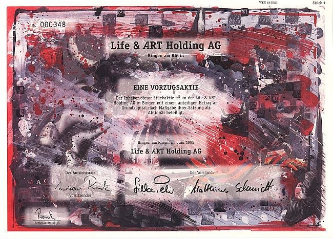 Life & ART Holding AG (mit Coupons) historic stocks - old certificates