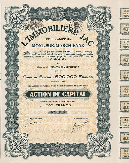 L'Immobiliere JAC historic stocks - old certificates