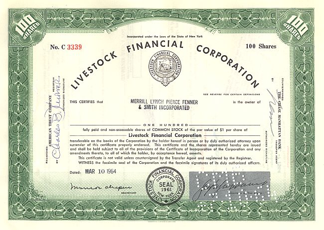 Livestock Financial Corporation historic stocks - old certificates