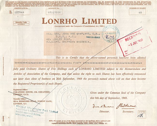 Lonrho Limited historic stocks - old certificates