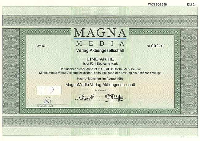 Magna Media Verlag Aktiengesellschaft historic stocks - old certificates