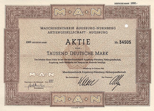 MAN (Maschinenfabrik Augsburg Nürnberg) 1952 historic stocks - old certificates