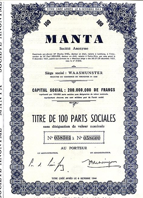 Manta historic stocks - old certificates