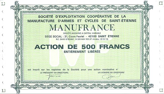 Manufrance (Societe d'Exploitation Cooperative de la Manufacture d'Armes et Cycles de Saint-Et historic stocks - old certificates