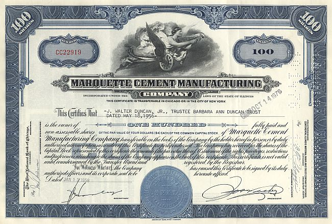 Marquette Cement Manufacturing Company historic stocks - old certificates