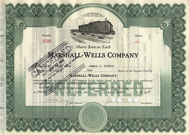 Marshall Wells Company historic stocks - old certificates