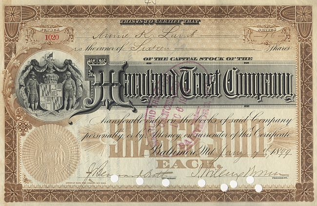 Maryland Trust Company historic stocks - old certificates