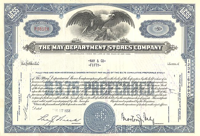May Department Stores Company historic stocks - old certificates