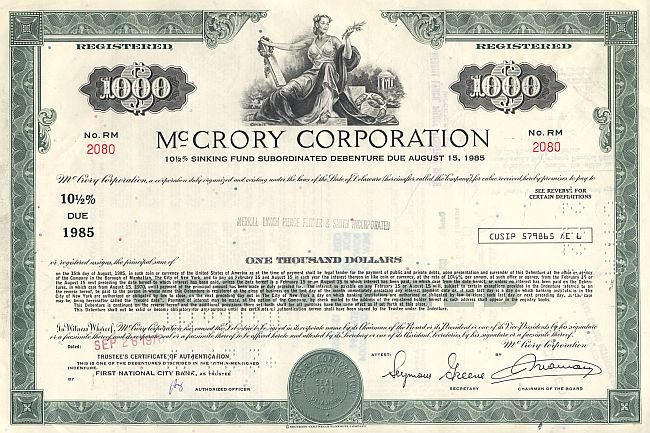 McCrory Corporation historic stocks - old certificates