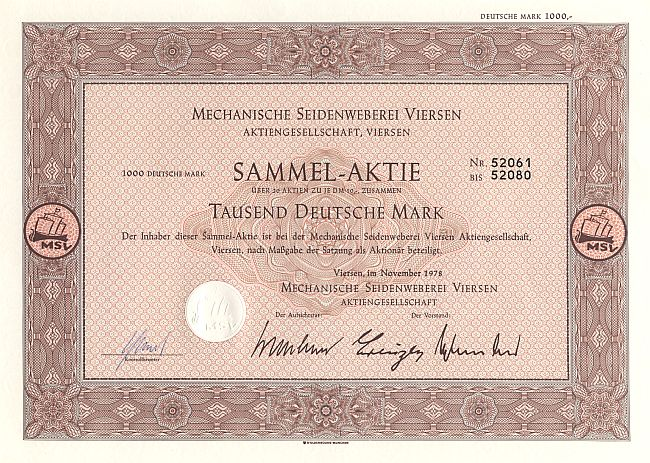 Mechanische Seidenweberei Viersen (1978) historic stocks - old certificates