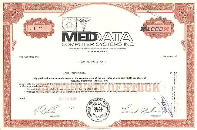Med Data Computer System Inc. historic stocks - old certificates