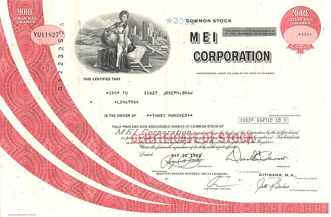 MEI Corporation historic stocks - old certificates